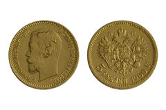 Antique russian coin of 1900 (gold) , isolated royalty free stock photo