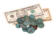 Antique russian coin and dollar Stock Photo