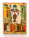 Antique Russian orthodox icon Intercession of the Theotokos pain Royalty Free Stock Photos