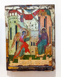 Antique Russian orthodox icon painted on wooden board Stock Photos