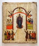 Antique Russian orthodox icon. The Protection of the Virgin pai Royalty Free Stock Photos