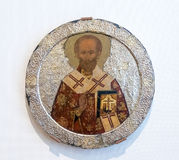 Antique Russian orthodox icon of Saint Nicolas Royalty Free Stock Images