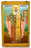 Antique Russian orthodox icon of The St. Moses Archbishop of Nov Stock Photography
