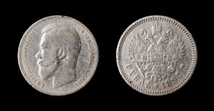 Antique russian silver ruble Stock Photos