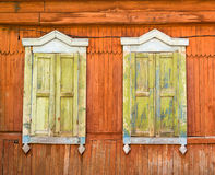 Antique Russian Wooden Window Frames Royalty Free Stock Images