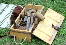 Antique rust working tools for carpenters and Farriers stock photo