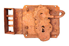 Antique rusted lock isolated on white Royalty Free Stock Photos