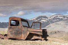 Antique rusted puckup truck and Idaho mountains Stock Image