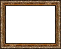 Antique rustic dark golden picture frame isolated Royalty Free Stock Image