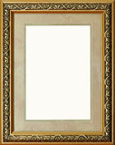 Antique rustic golden picture frame isolated