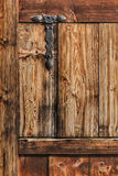 Antique Rustic Pine Wooden Door With Wrought Iron Hinge Stock Photos