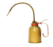 Antique rusty old oil can. On white background Royalty Free Stock Photo