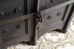 Antique rusty padlock. Vintage safe. Vintage safe. Antique rusty padlock royalty free stock image
