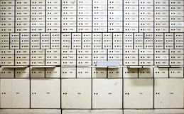 Antique safe deposit boxes. In bank Mandiri in Jakarta, Indonesia Stock Image