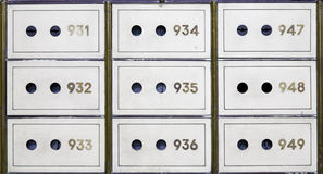 Antique safe deposit boxes Stock Photo