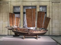 Antique sailing ship model in the Shanghai History Museum. A photograph showing the beautiful made to scale model of an old historic style sail ship used since stock photos