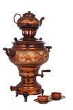 The Antique Samovar on the white background Royalty Free Stock Photos