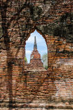 Antique Sanctuary window. Look through Antique Sanctuary window to the Antique pagoda.Historical Park Stock Photography