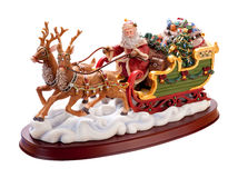 Antique Santa Sleigh (with clipping path) Stock Photos