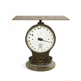 Antique scale on white Royalty Free Stock Image