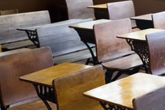Antique School Desks. Old-style wooden school desks from a historic American midwest rural elementary school royalty free stock images