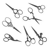 Antique scissors. Collection of vintage accessories. Stock Photos