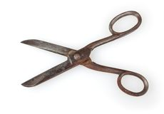Antique scissors  on white. Background with clipping path Stock Photo
