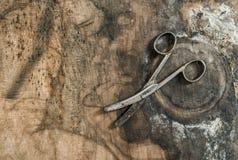 Antique scissors wooden background Vintage object. Antique scissors on wooden background. Vintage object Stock Photos