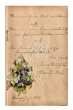 Antique scrapbook album with handwriting and picture Royalty Free Stock Photography