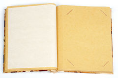 Antique scrapbook for one image per page. On white background royalty free stock photo