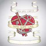 Antique scroll. With cross, anchor and heart. Each object on separate layer Royalty Free Stock Photo