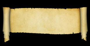 Antique scroll on black background. royalty free stock photography