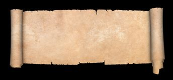 Antique scroll of parchment. Old parchment scroll on black background Stock Photography
