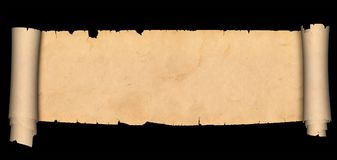 Antique scroll of parchment. Antique parchment scroll with torn edges and two rolls. Isolated on black background Stock Images