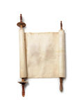 Antique scroll. Roll of antique blank manuscript over white Royalty Free Stock Photo
