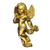 Antique sculpture of a golden angel Royalty Free Stock Images