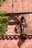 Antique sculpture of a knight and a wall fragment of Heidelberg Royalty Free Stock Photography
