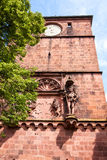 Antique sculpture of a knight and a wall fragment of Heidelberg Royalty Free Stock Images