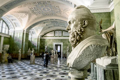 Antique sculptures in the hall of Jupiter in the Hermitage Museum in St. Petersburg.Russia. April 17, 2016. Saint-Petersburg.Antique sculptures in the hall of stock photography