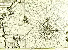 Antique sea map or chart Stock Images