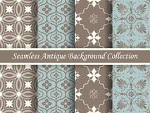 Antique seamless background collection brown and blue_61 Royalty Free Stock Photos