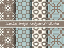 Antique seamless background collection brown and blue_62 Royalty Free Stock Images