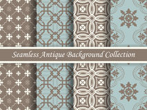 Antique seamless background collection brown and blue_63 Royalty Free Stock Photos