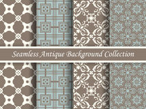 Antique seamless background collection brown and blue_69 Royalty Free Stock Image