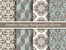Antique seamless background collection brown and blue_70 Royalty Free Stock Image