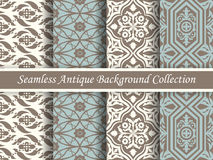 Antique seamless background collection brown and blue_74 Royalty Free Stock Images