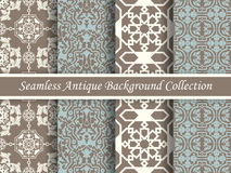 Antique seamless background collection brown and blue_80 Royalty Free Stock Image