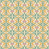 Antique seamless background image of spiral curve cross vine pink flower Royalty Free Stock Images