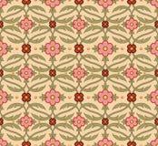Antique seamless background image of vintage garden pink flower curve cross leaf vine Royalty Free Stock Images