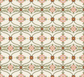 Antique seamless background image of vintage white pink curve cross leaf flower Stock Photo